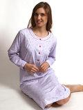 Cocodream Dames nachthemd met lange mouw Grijs Hartjes_