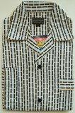 Gentlemen Heren Flanellen Pyjama jas wit met blauw print_