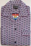 Gentlemen Heren Flanellen Pyjama jas blauw met rood print_