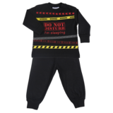 Fun2Wear Kinder pyjama Do Not Disturb Zwart_