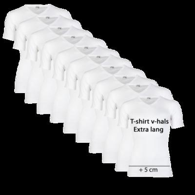 Beeren 10-pack extra lange heren T-shirts met V-Hals M3000 Wit
