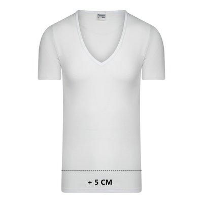Beeren Extra lang heren T-shirt met diepe V-hals M3000 Wit
