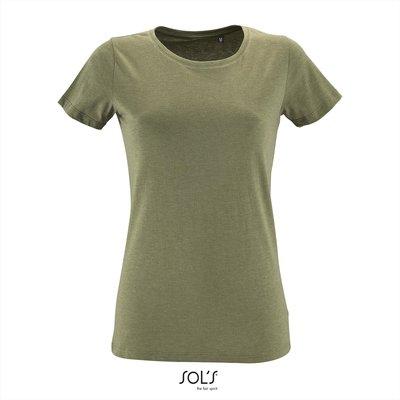 Dames T-shirt met O-Hals Heather Khaki