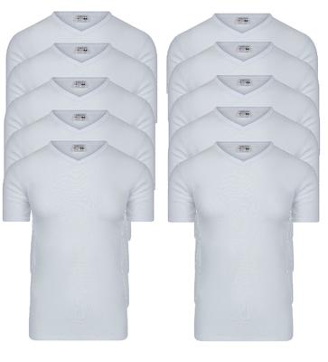 Beeren 10-pack Heren T-shirts met V-hals en K.M. M3000 Wit