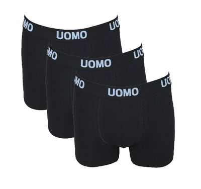 UOMO 3-Pack Heren boxershorts Zwart