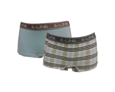 2-pack E-Line dames boxershort Blauw/Ruit