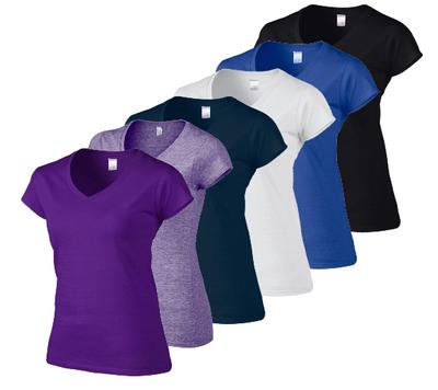 6-Pack Softstyle Dames T-shirts met V-Hals Ass