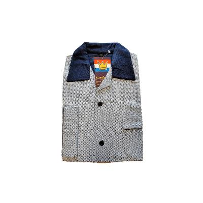 Gentlemen Heren Flanellen Pyjama jas blauw met donkerblauwe print