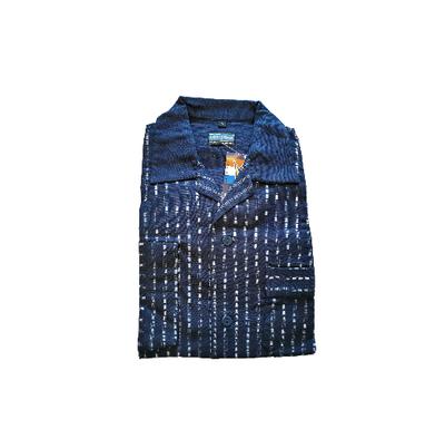 Gentlemen Heren Flanellen Pyjama jas donkerblauw met blauwe print