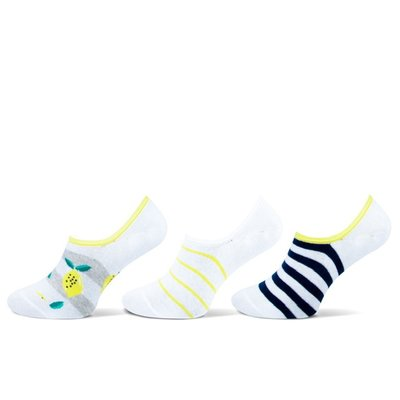 Teckel 3-Pack Invisible dames sneakersokken Lemon