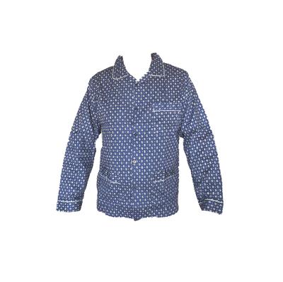 Gentlemen Heren Flanellen Pyjama jas Donkerblauw met print