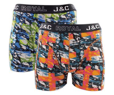 J&C 2-pack Heren boxershorts H238-30056 Oranje/Groen