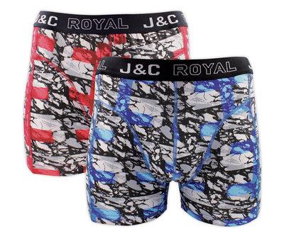 J&C 2-pack Heren boxershorts H238-30055 Rood/Blauw