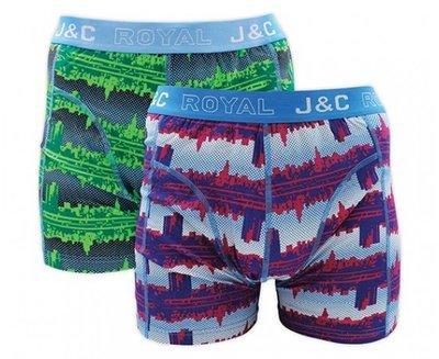 J&C 2-pack Heren boxershorts H225-30030 Blauw/Groen