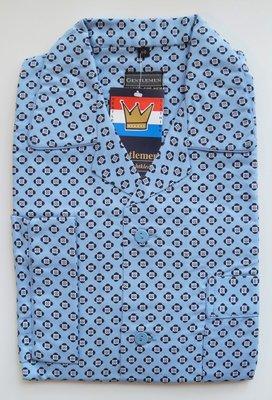 Gentlemen Heren Flanellen Pyjama jas Lichtblauw met donkerblauw print