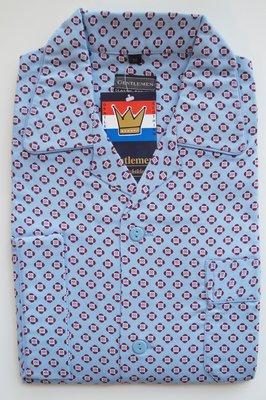Gentlemen Heren Flanellen Pyjama jas Lichtblauw met rood print