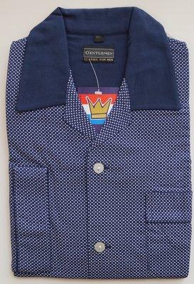 Gentlemen Heren Flanellen Pyjama jas Donkerblauw met lichtblauwe print