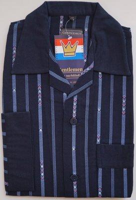 Gentlemen Heren Flanellen Pyjama jas donkerblauw met blauwe streep print
