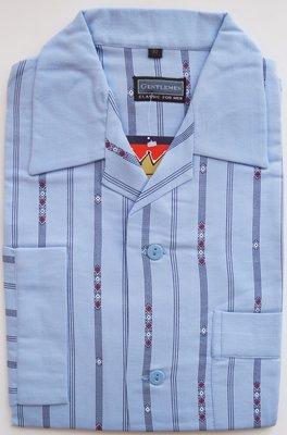 Gentlemen Heren Flanellen Pyjama jas lichtblauw met donkerblauwe streep print