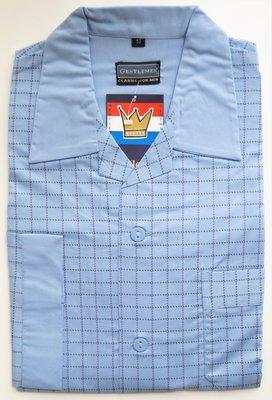 Gentlemen Heren Flanellen Pyjama jas lichtblauw met blokprint