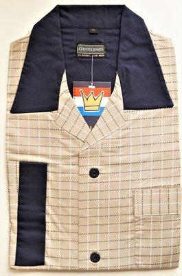 Gentlemen Heren Flanellen Pyjama jas Zand met blokprint