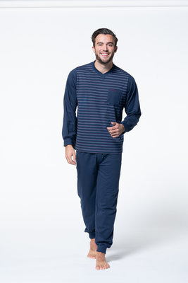 Gentlemen Heren pyjama met V-hals Marine gestreept