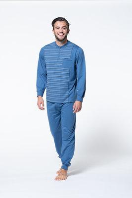 Gentlemen Heren pyjama met knoopsluiting Blauw met wit gestreept