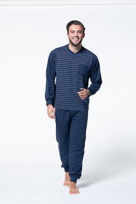 Gentlemen Heren pyjama met knoopsluiting Marine met wit gestreept