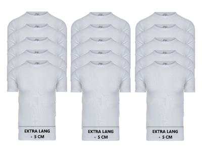Beeren 15-Pack extra lange heren T-shirts met O-Hals M3000 Wit