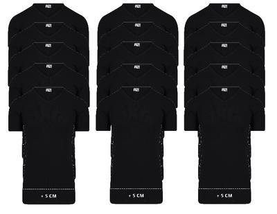 Beeren 15-Pack extra lange heren T-shirts met V-Hals M3000 Zwart