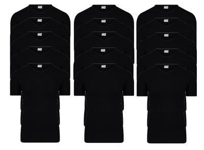 Beeren 15-pack Heren T-shirts met V-hals en K.M. M3000 Zwart