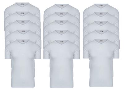 Beeren 15-pack Heren T-shirts met V-hals en K.M. M3000 Wit