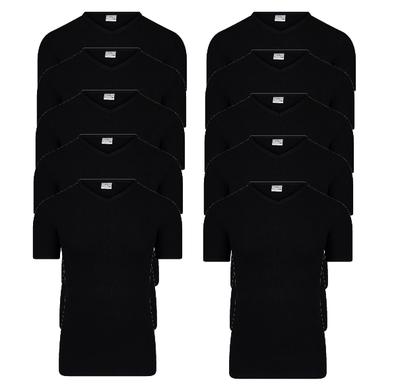 Beeren 10-pack Heren T-shirts met V-hals en K.M. M3000 Zwart
