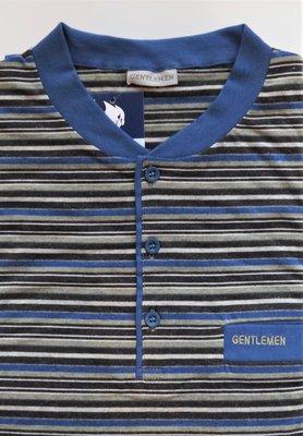 Gentlemen Heren pyjama met knoopsluiting Blauw met grijs gestreept