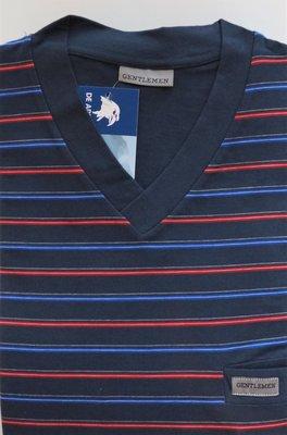Gentlemen Heren pyjama met V-hals Marine met rood/blauw gestreept