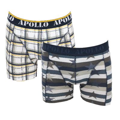 """Apollo 2-Pack Heren boxershorts """"Ster"""" Bruin/Geel"""