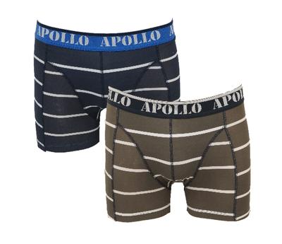 "Apollo 2-Pack Heren boxershorts ""All Stripes"" Bruin/Marine"