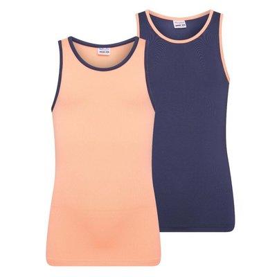 Beeren 2-Pack Mix&Match meisjes hemden Zalm/D.Blauw
