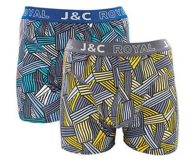 J&C 2-pack Heren boxershorts H233-30046 Blauw/Grijs