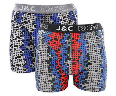 J&C 2-pack Heren boxershorts H234-30047 Grijs/Rood