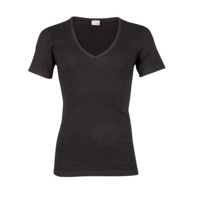Beeren Heren diepe V-hals T-shirt Korte Mouw M3000 Zwart