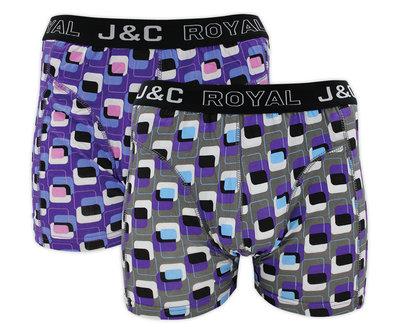 J&C 2-pack Heren boxershorts H216-30008 Paars/Donkergrijs