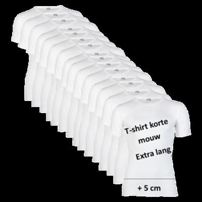 Beeren 15-pack extra lange heren T-shirts met ronde hals en korte mouw Wit