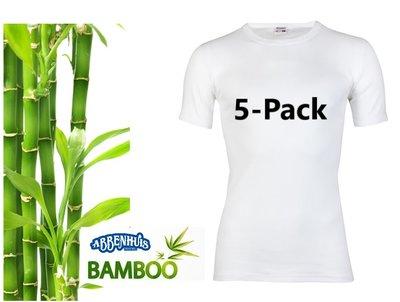 5-Pack Beeren Bamboe heren T-shirt Korte Mouw Wit