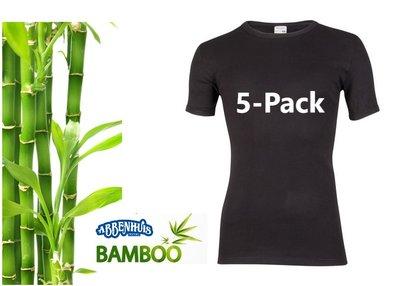 5-Pack Beeren Bamboe heren T-shirts Korte Mouw Zwart