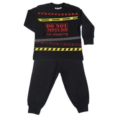 Fun2Wear Kinder pyjama Do Not Disturb Zwart
