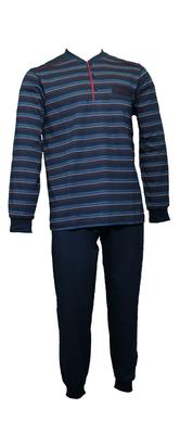 Gentlemen Heren pyjama met knoopsluiting Marine gestreept