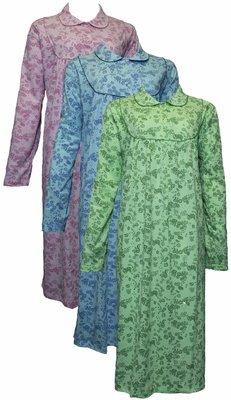 Lunatex Dames nachthemd met lange mouw Blauw