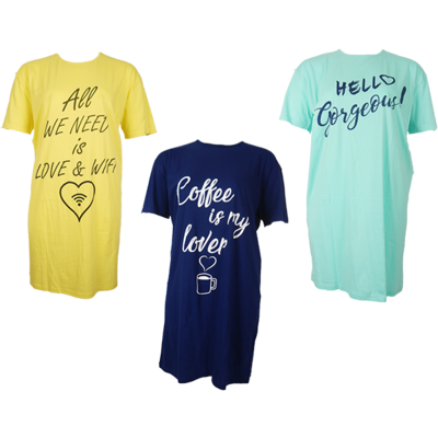 3-Pack Fun2Wear Bigshirts Coffee/Hello/WIFI