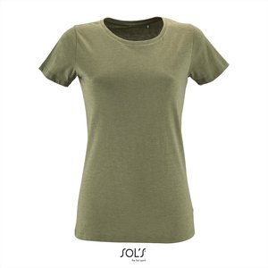 Dames T-shirt met O-Hals Heather Khaki